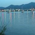 琵琶湖の夕景 ボート