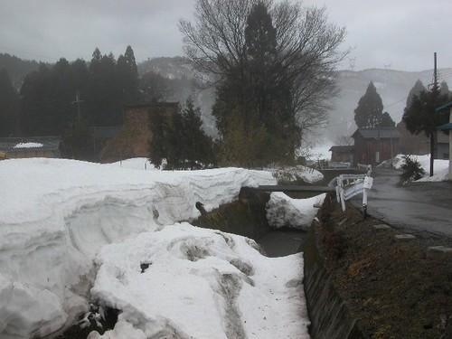 竜田川の雪の橋