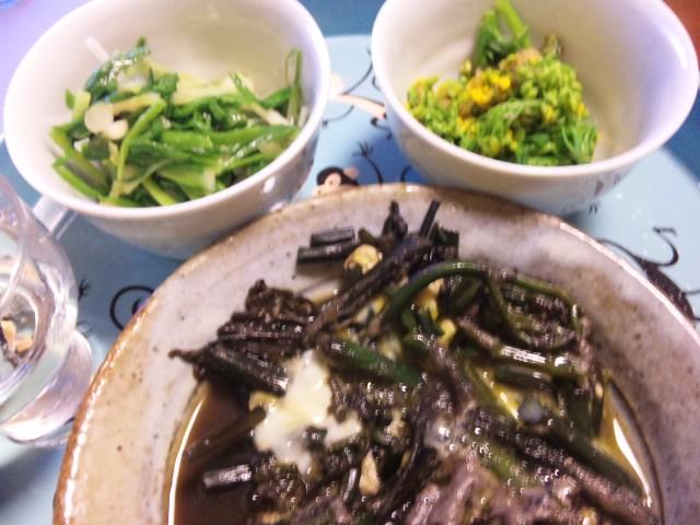 蕨の卵とじ、分葱のヌタ、菜の花のお浸し