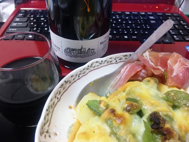 赤ワインとポテト・スナップエンドウのチーズ焼き