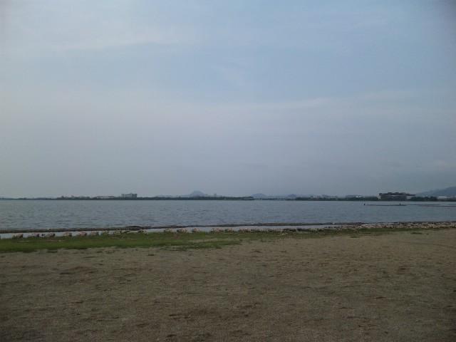 湖岸で笛吹く