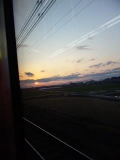 琵琶湖線の夕陽