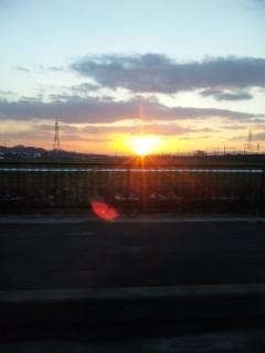 湖東平野に沈む夕陽
