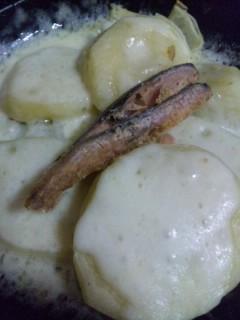 鯖のへしことチーズポテト