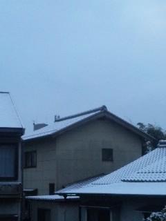 雪がチラチラ舞う朝です