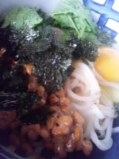 お昼は納豆うどん、川柳饅頭