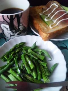 頂きものの野菜とオープンサンド