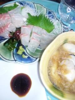 鯛のお造りと酢牡蠣