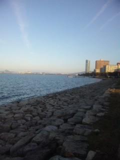 浜大津湖岸にて