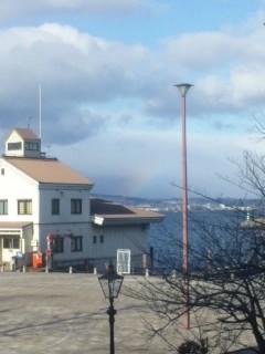 大津港から見えた虹