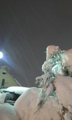 電車は雪で遅れ満員