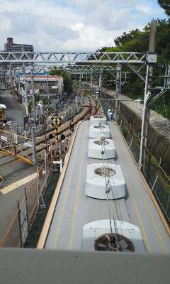 阪神電車の川の上の駅