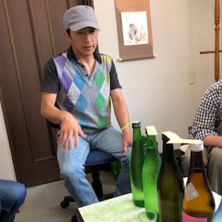 今月の朝市のお酒選び 「神開」